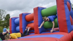 Total wipeout inflatable fun bouncing house