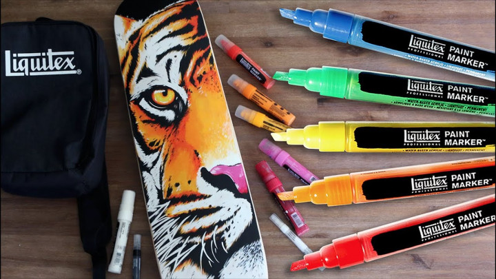 Art pens with the drawing of a lions face