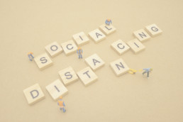 Social Distancing in wooden letters