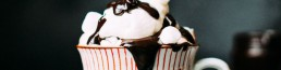 Ice cream, chocolate topping and mash mallow