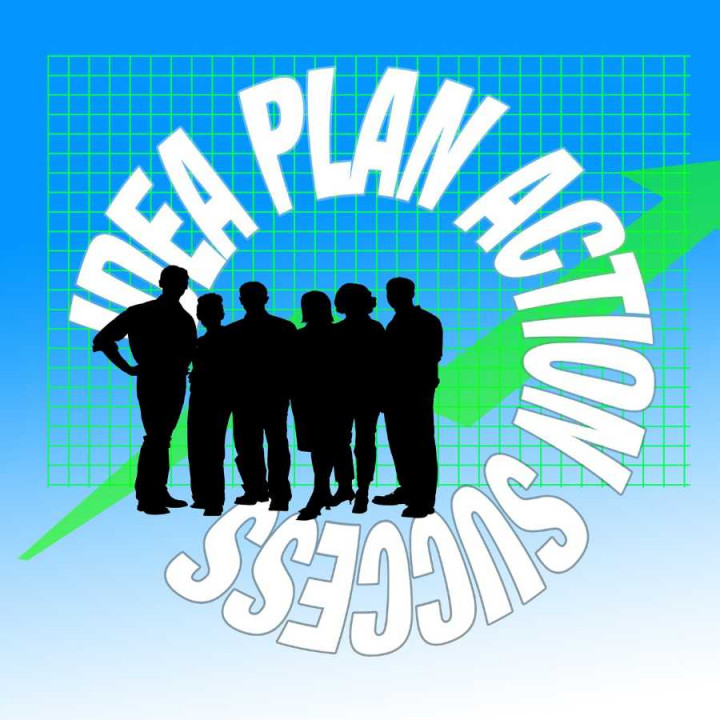 Group of people with the words idea, plan, action ad success circling them