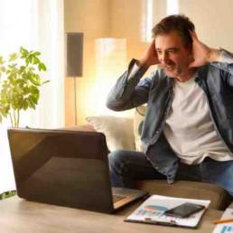 Virtual Team Building Dash & Grab Person at laptop