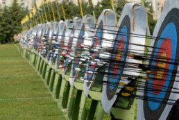 Long row of archery stands