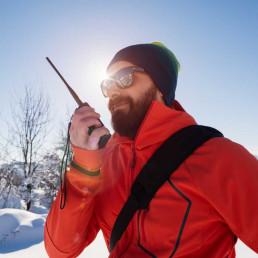 Virtual escape room man in snow on radio