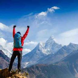 Virtual Team Building Peak Performance Man on Mountain