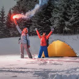 Virtual escape room flare signal in snow