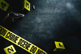 Virtual Crime Scene team building tape and markers