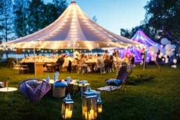 Corporate Away Day festival style marquee at night