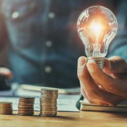 Virtual Dragons Den Idea Lightbulb & Money